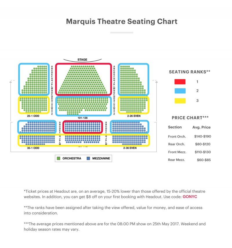 Marquis Theatre Seating Chart On Your Feet Seating Guide